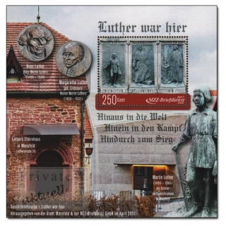 MZZ Briefdienst Halle, Luther war hier - Luther in Mansfeld, Block (1 Wert) postfrisch